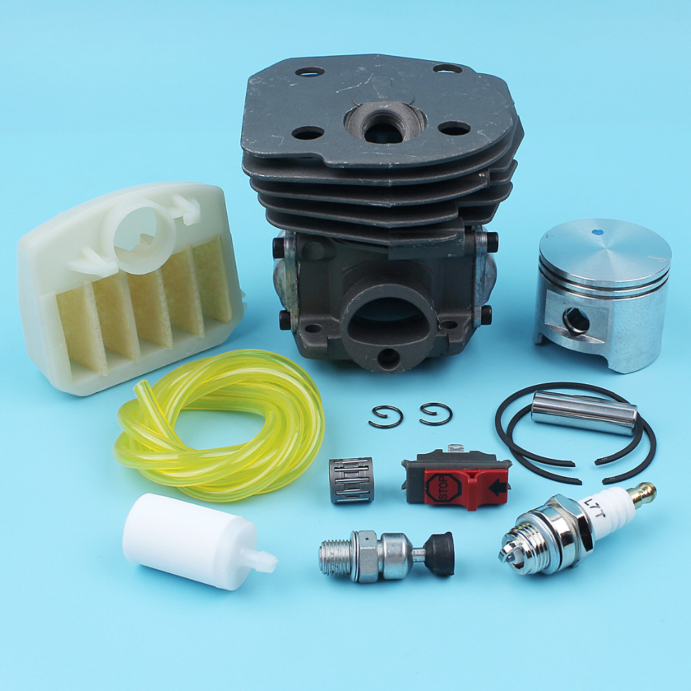 45MM Cylinder Piston Kit Air Filter Decompression Valve Kill Switch For Husqvarna 353 351 350 346 XP 345 340 Chainsaw Fuel Line nikasil cylinder piston kit 45mm big bore fits husqvarna 353 351 350 346xp epa 345 340 chainsaw decompression valve fuel filter