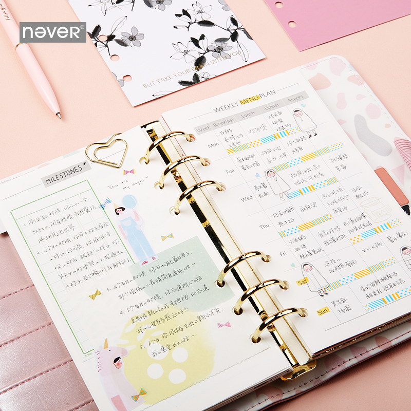 Image 4 - NEVER Light Pink Series Spiral Binder Notebook Korean Grid Dotted Line Paper A6 Planner Diary Personal Note Book Gift StationeryNotebooks   -