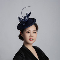 Shanfu New Sinamay Fascinator Hat Headband Feather Floral Women Formal Bridal Hat Cocktail Kentucky Derby Party Wedding Hats
