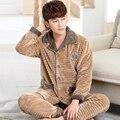 Men's Pajamas Flannel Autumn Winter Male Pyjama Homme Pijama Masculino Sleepwear Long-Sleeve V-Neck Pullover Lounge Sleep Set