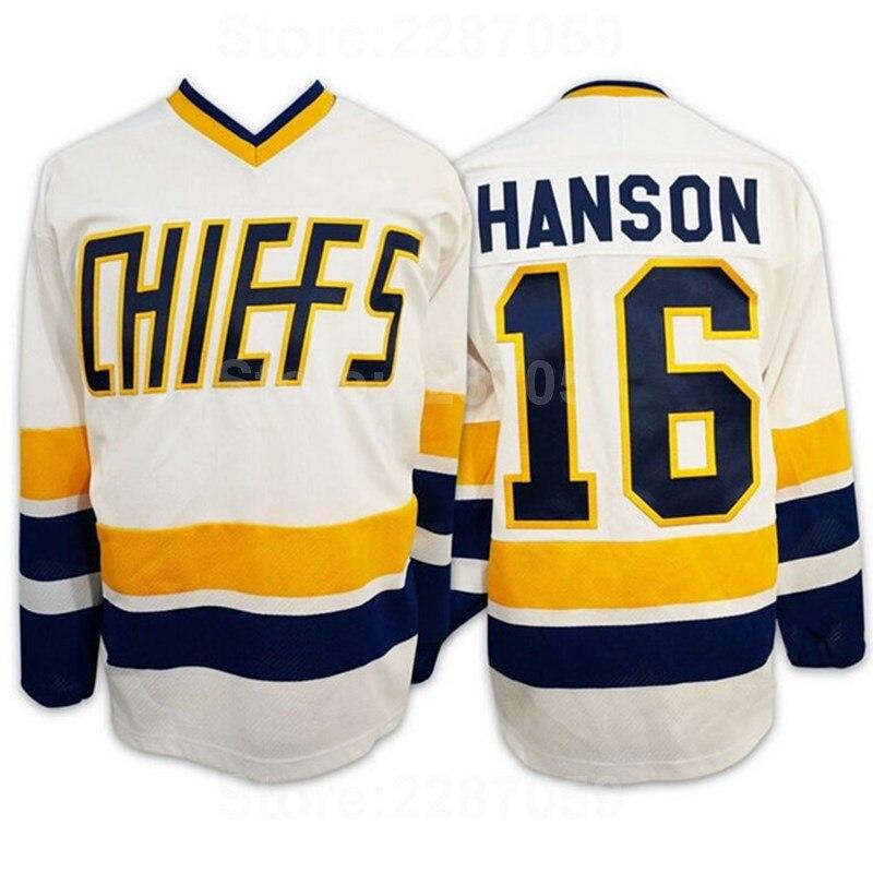 cacded51d Ediwallen Charlestown Chiefs 16 Jack Hanson Jersey Men Blue Team Color  White Slap Shot Movie Ice