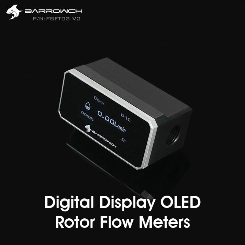 Barrowch FBFT03-V2 display digital oled rotor medidor de fluxo múltipla cor painel de liga de alumínio + pom corpo detecção em tempo real