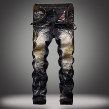 2017 men and women in Europe and America personalized embroidery wings holes denim trousers