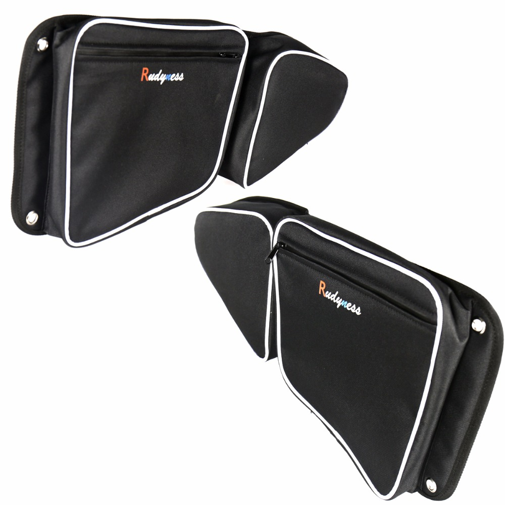 Left&Right Black Door Bag With Knee Pad For UTV Polaris RZR XP 1000 900 S X 2015-2017 Models