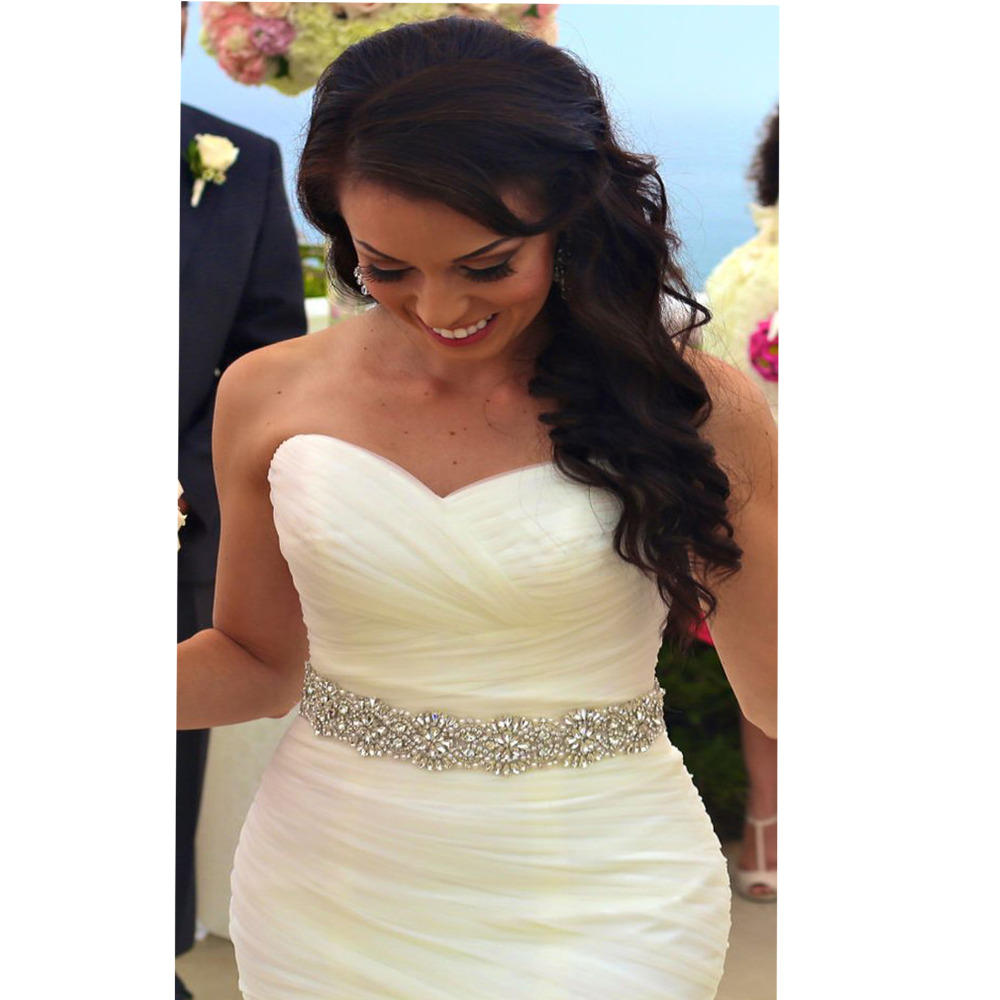 YANSTAR font b Bridal b font Rhinestone font b Wedding b font Belts Thin Crystal Iron