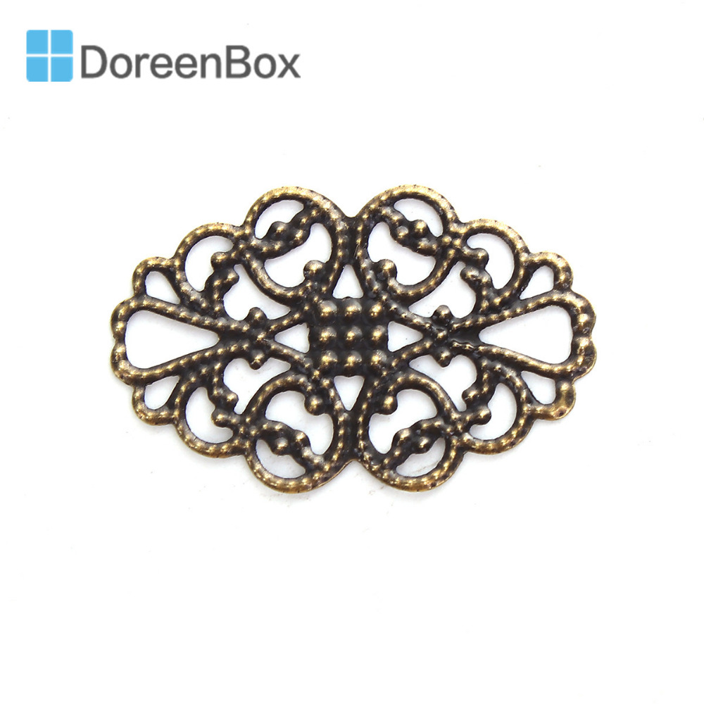 Doreen Box Zinc Based Alloy Embellishments Antique Bronze Filigree Carved DIY Jewelry Making 31mm(1 2/8