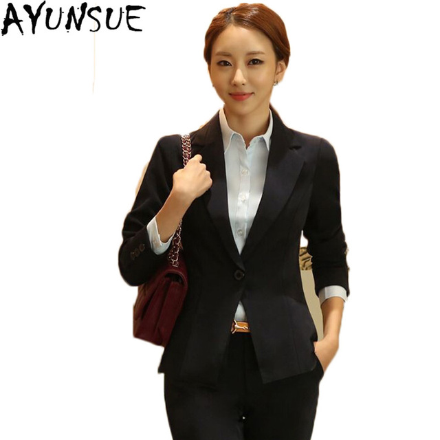 9fdcd1a0bbdba ... Dress Business Formal Jacket Pants High Quality. AYUNSUE 2018 Hot Sale Female  Blazer Short Slim Women s Suits Autumn Long Sleeve OL Women Blazers