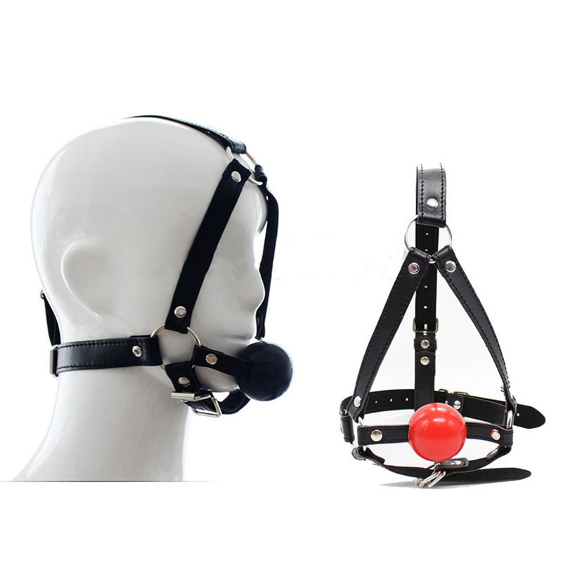 BDSM pony play Leather harness for women men silicone Ball Mouth Gag Oral Fixation Stuffed Adult Games Flirting Sex Toys