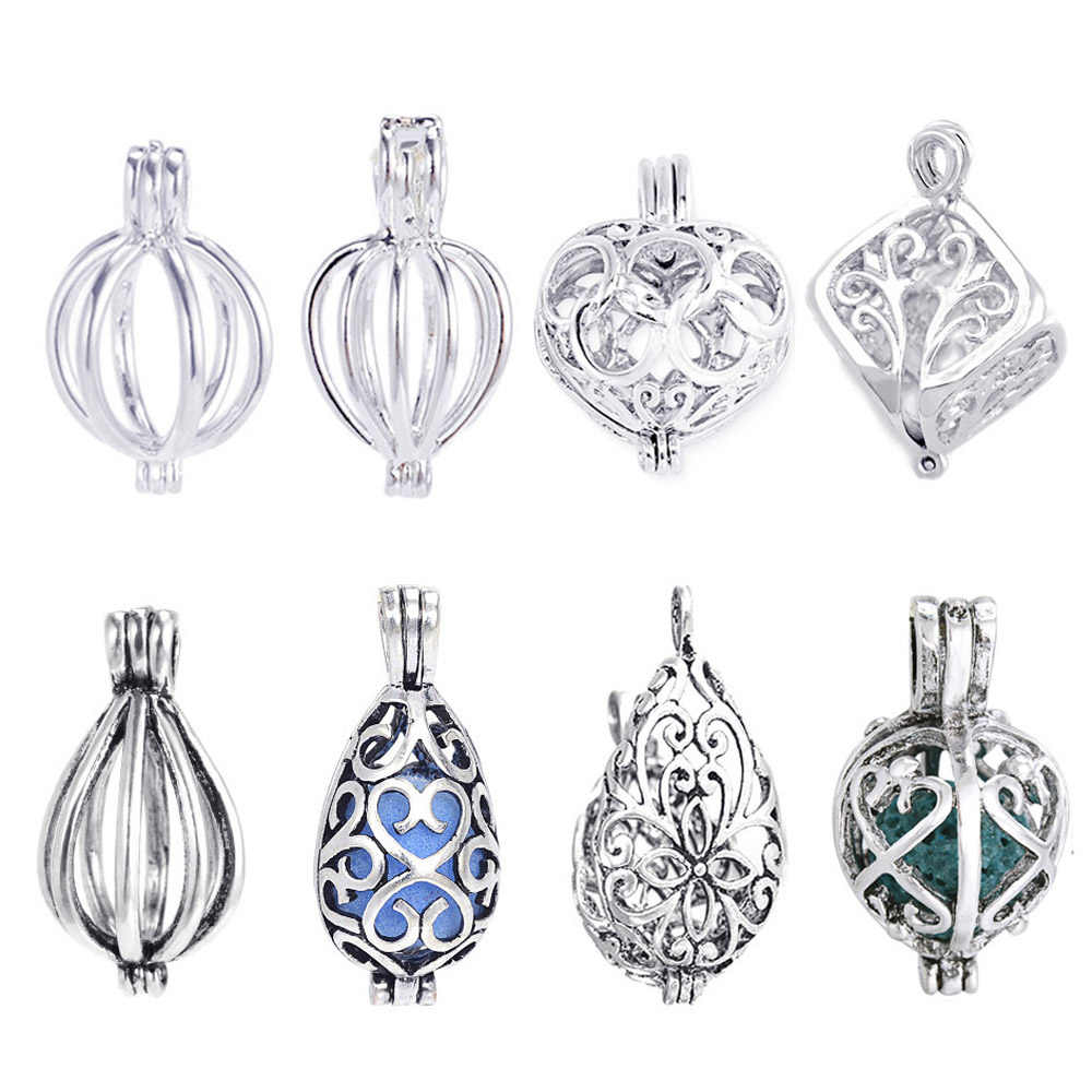 1pc Heart Cubic Pearl Cage Locket Pendant Vintage Aromatherapy Mermaid Essential Oil Diffuser Necklace Locket For DIY Jewelry