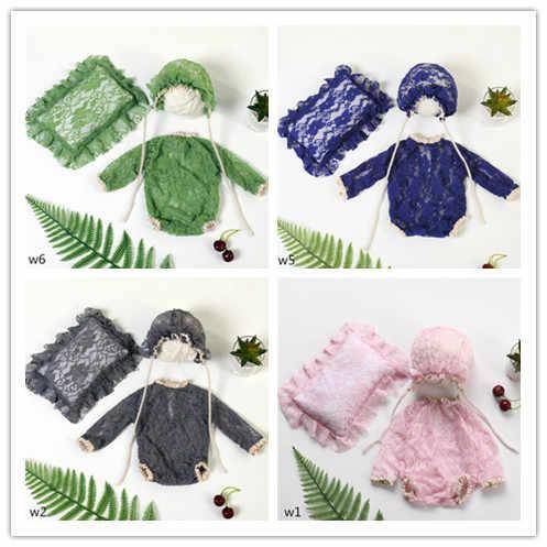 Реквизит для фотосъемки новорожденных; кружевная подушку для маленьких мальчиков и девочек + шляпа + комбинезон; Комплект для фотосъемки; аксессуары для студийной съемки; реквизит для фотосессии