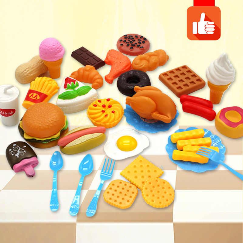 34 pcs เด็กของเล่นตัดพลาสติกผักผลไม้ไอศกรีมเครื่องดื่มอาหาร Kit Kat Pretend Play การศึกษาของเล่นสำหรับเด็ก