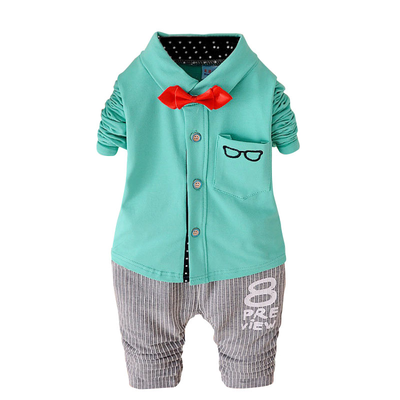 Baby Clothing Sets Kids Clothes Autumn Children Long Sleeve Sports Suits Bow Tie T-shirts + Pants Boys Casual Clothes 0-4T M