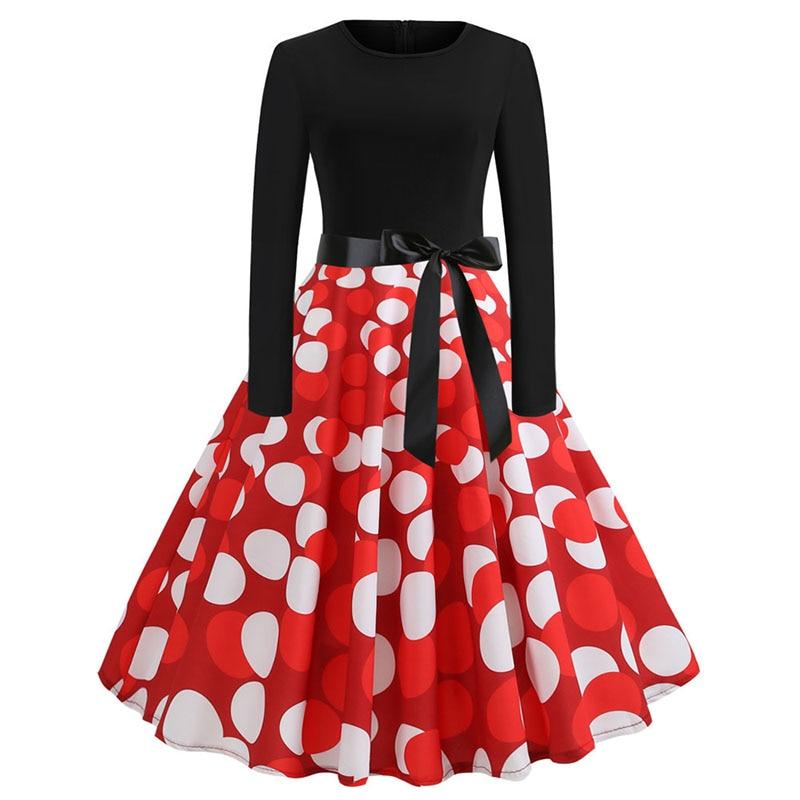 Plaid Print Vintage Dress Women 19 Christmas Casual Robe Femme Plus Size Dress Elegant Party Dresses Long Sleeve Vestidos 42