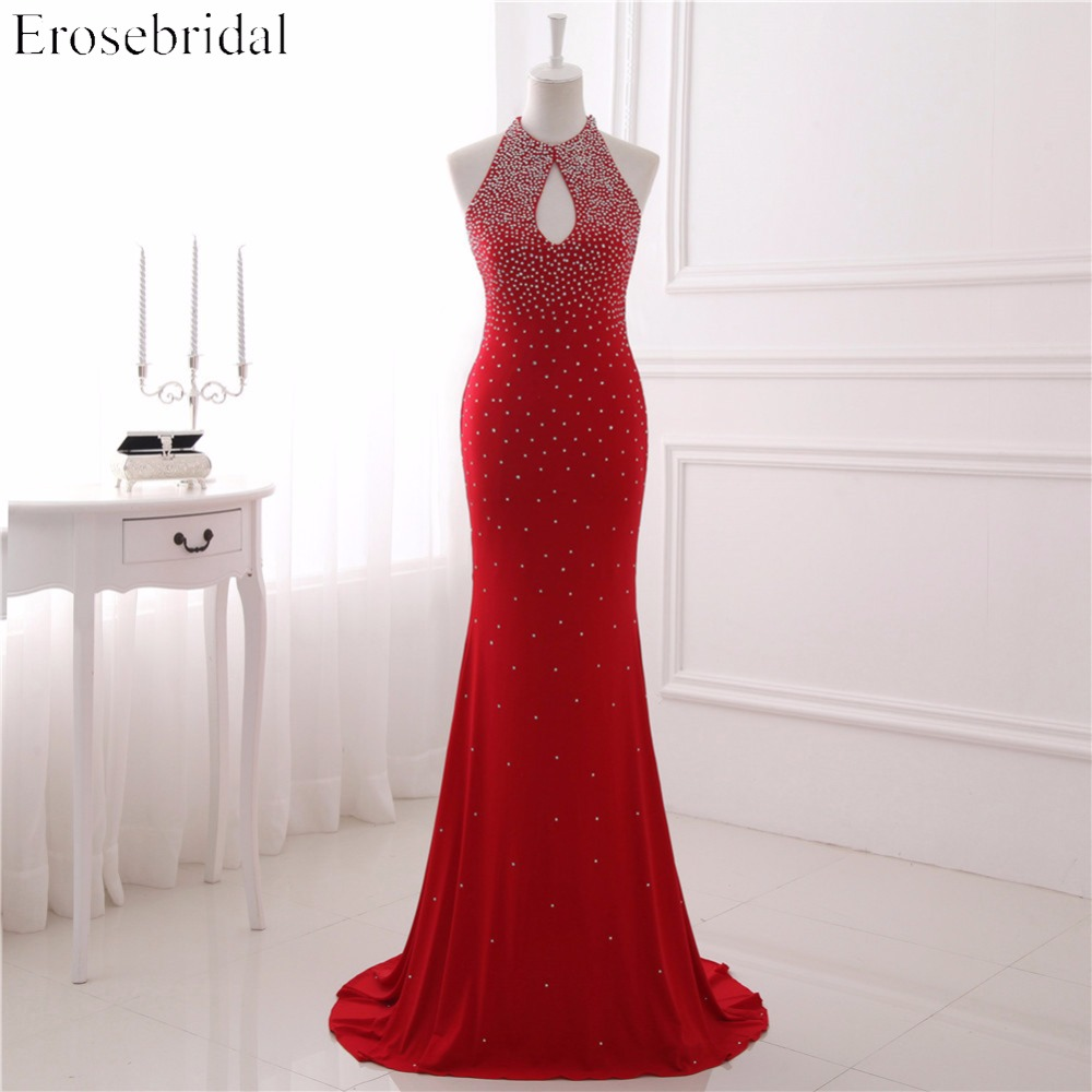 Backless Evening Dresses Erosebridal Mermaid Red Long Prom Dress Sparky White Beading Sexy Party Gown Vestido De Festa