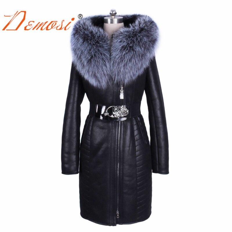 Atacado inverno 2017 ucrânia moda Camurça casaco com cinto Fino Venda Fábrica real natural fox gola de pele das mulheres plus size 7xl