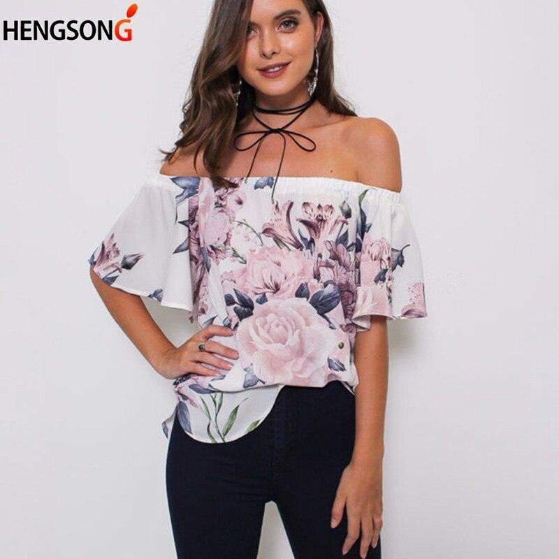 Slash neck Off Shoulder Beach Casual Print blouse for Women Harajuku blouse Fashion Women's blouse