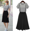 Summer Style 2017 New Women Dress Casual Slim Black White Striped Dresses Short Sleeve Round Neck Maxi Vestidos Plus Size B653
