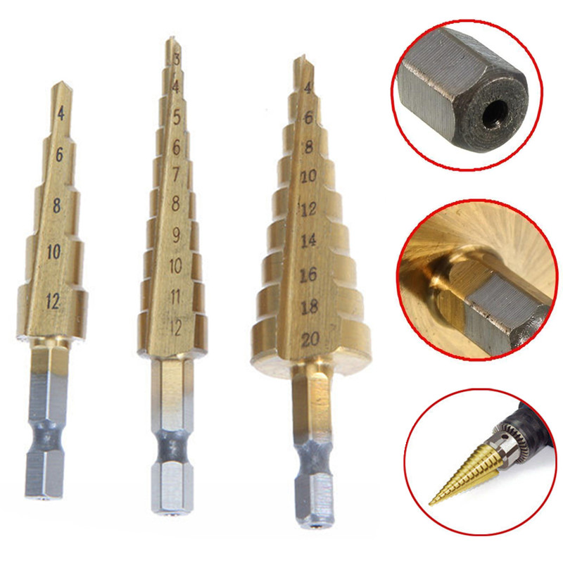 3pcs HSS Step Cone Drill Bits Set Titanium Coated Woodworking Hole Cutter 3-12/4-12/4-20mm Mayitr For Power Tools3pcs HSS Step Cone Drill Bits Set Titanium Coated Woodworking Hole Cutter 3-12/4-12/4-20mm Mayitr For Power Tools
