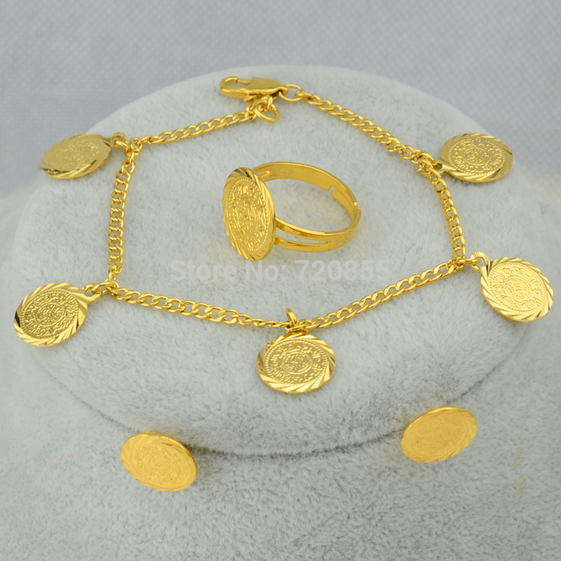 Anniyo Arab Coin Set Necklace Bracelet Earrings Ring Jewelry Gold