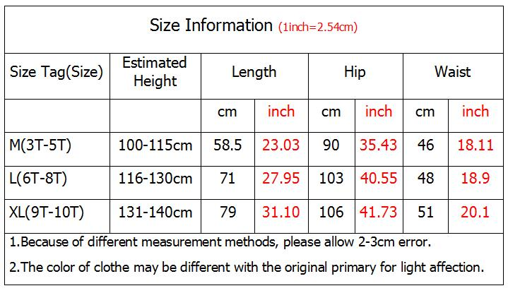size table for kids pants YFA