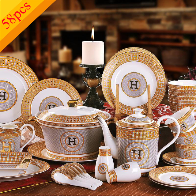 Porcelain dinnerware set bone china  H  mark mosaic design outline in gold 58pcs dinnerware & Porcelain dinnerware set bone china