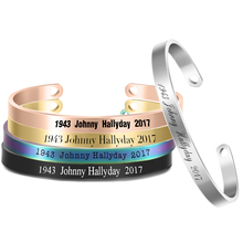 5 Colors Trendy Johnny Hallyday Bracelet Cuff Open Bangle Engraved Nameplate 6mm Width Stainless Steel Jewelry for Men Women