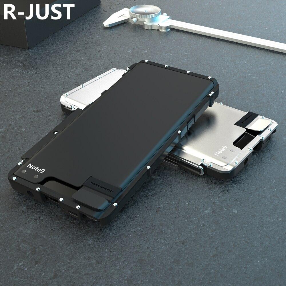 R-JUST Pour Samsung Note 9 Cas Couverture De Luxe En Métal Acier Dur En Plastique Antichoc Armure Flip Cas de Téléphone pour Samsung Note 9 couverture