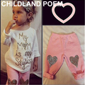 2017 Spring baby girl clothing sets letter kids children girls clothes heart t-shirt+pants 2pcs/set fashion baby clothes set