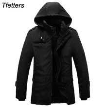 TFETTERS 2017 Jacket Men Luxury Brand Winter Parka Designer Thickening Long Coats Hooded Casual Men