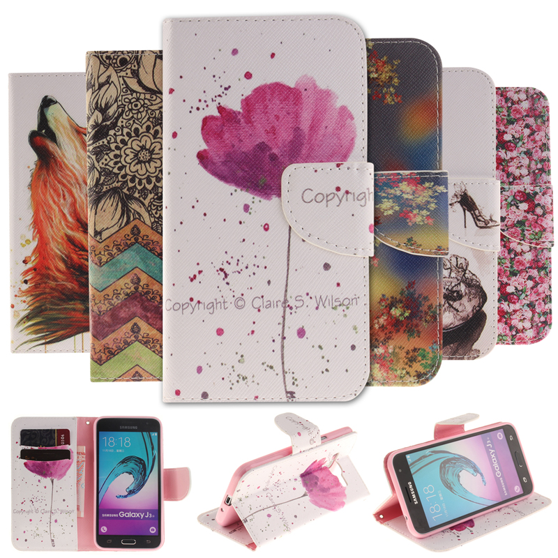 Galleria fotografica Fashion Flip Leather Wallet Cover Case For Samsung Galaxy J1 J3 J5 2016 J320 J510 Colorful Painting phone Cases With Card Holder