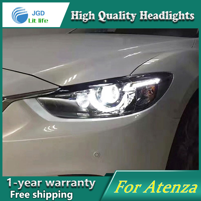 high quality Car Styling for Mazda Atenza Mazda6 Headlights LED Headlight DRL Lens Double Beam HID Xenon Car Accessories hireno headlamp for 2016 hyundai elantra headlight assembly led drl angel lens double beam hid xenon 2pcs