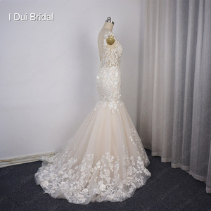 Image 5 - Illusion Top Lace Wedding Dress Mermaid Low Back Sexy Bridal Gown