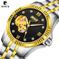 BOSCK Skeleton Automatic Men S Watch Waterproof Top Brand Mens Mechanical Leather Watches Calendar Gold Rose