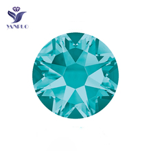 YANRUO #2088HF SS20 Blue Zircon 1440Pcs 8 Big + Small Flatback Hotfix Rhinestone Strass Glass Crystal For Garment