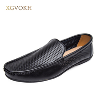 XGVOKH Men Shoes Classic Genuine Leather Driving Breathable Summer Hollow Soft Casual Men Loafers Moccasins Flats