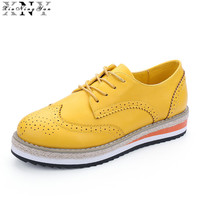 XiuNingYan 2017 Brogue Shoes Woman Candy Colors Platform Oxfords British Style Creepers Cut Outs Flat Casual