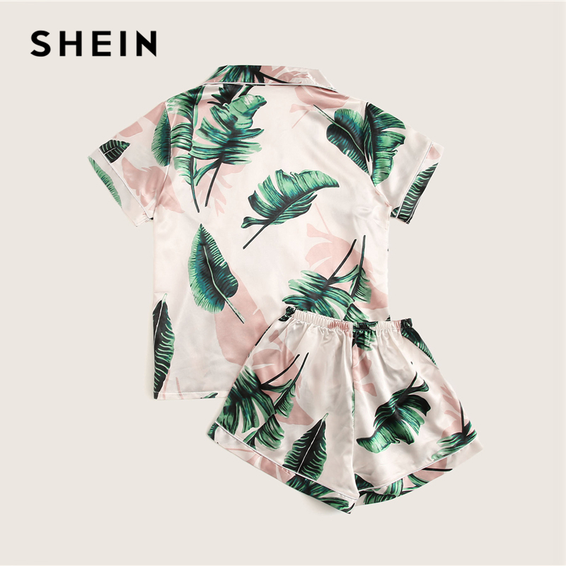 Image 3 - SHEIN Tropical Print Satin Pajama Set Casual Sleep Wear Shorts Sets Short Sleeve Pocket Women Summer Pajama Set-in Pajama Sets from Underwear & Sleepwears