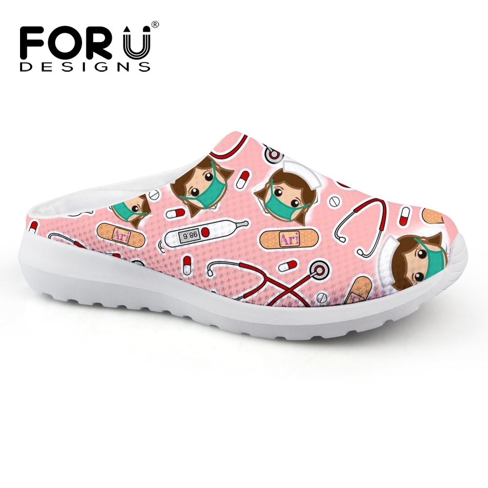 FORUDESIGNS Women Summer Sandals Cute Cartoon Nurse Pattern Women Breathable Mesh House Slippers Flats Beach Sandals Girls Shoes forudesigns women casual sneaker cartoon cute nurse printed flats fashion women s summer comfortable breathable girls flat shoes