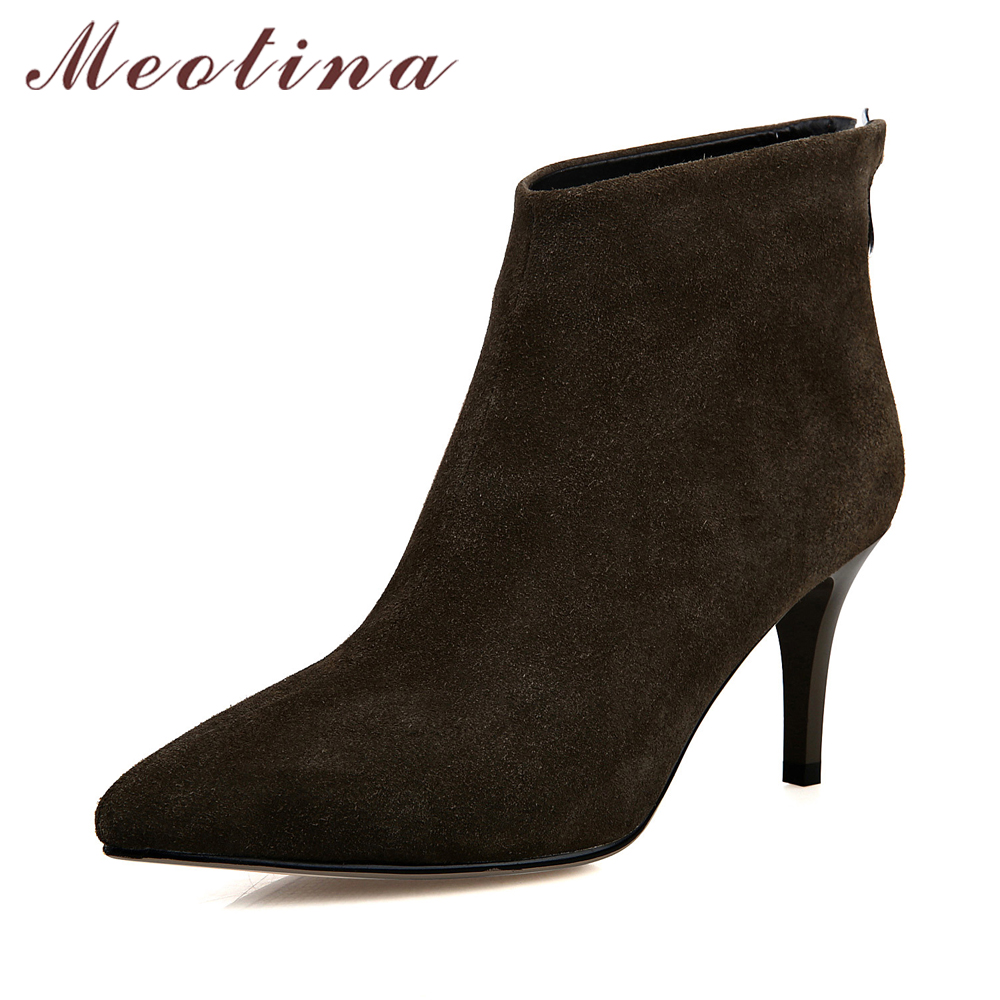Meotina Women Boots Winter Pointed Toe Ankle Boots Zip High Heel Women Shoes 2018 Thin Heels Solid Ladies Fashion Boots Autumn купить