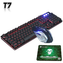 T7 Wired 3 Colors LED Backlit Ergonomic Usb Gaming Keyboard Mouse Combo + 2400DPI Gamer Optical Wired Mouse Sets + Cool Mousepad