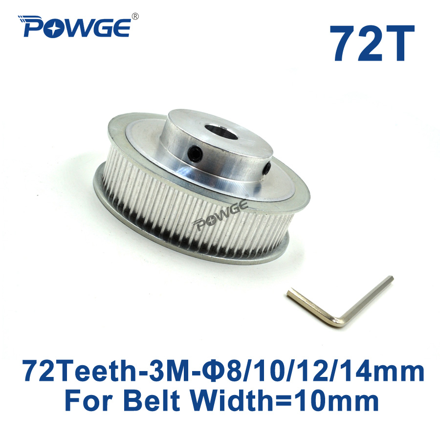 POWGE 72 Teeth HTD 3M Timing Pulley Bore 8mm 10mm 12mm 14mm for Width 10mm 3M Synchronous belt HTD3M pulley Gear 72Teeth 72T CNC powge 1pcs steel 18 teeth htd 3m timing pulley bore 8mm for width12mm 3m timing belt rubber htd3m pulley belt tooth 18t 18teeth