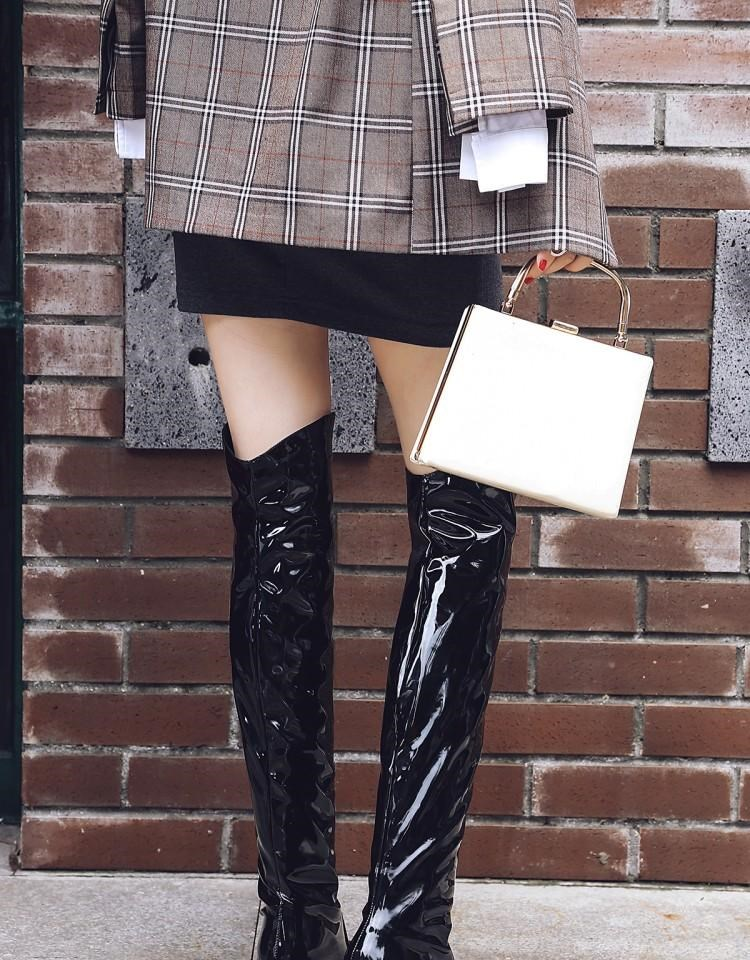 Compre Botas Altas Para Mujer De Piel De Serpiente Para Montar A Caballo Tirar Del Tacón Bajo Zapatos De Vaquero De Cuero C40 A $63.64 Del Rowback |