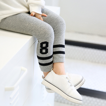 Girls leggings spring/fall cotton warm skinny trousers grey white black striped legging for children baby girl boys skinny pants image