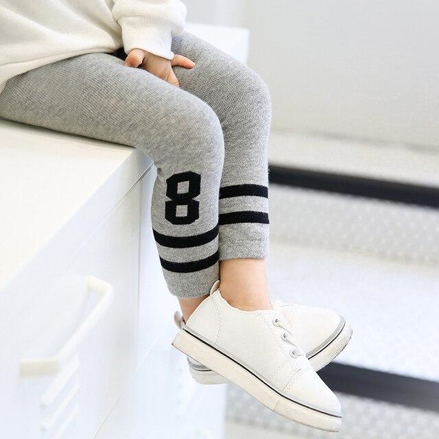 b9d9e2363c1eb3 Girls leggings spring/fall cotton warm skinny trousers grey white black striped  legging for children baby girl boys skinny pants