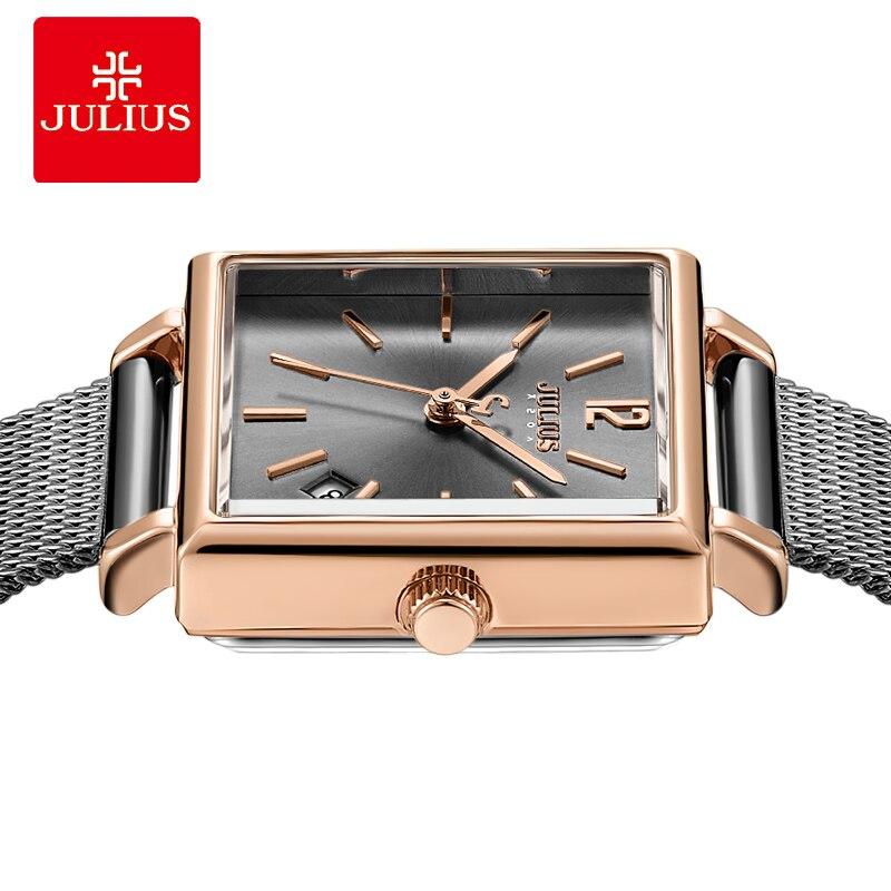 Julius zegarek szary wysokiej jakości ze stali nierdzewnej zegarek z kalendarzem opaska siatkowa moda kobiet kwadratowych Whatch Dropshipping JA 1083 w Zegarki damskie od Zegarki na  Grupa 2