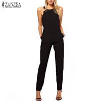 2016 Summer Rompers Womens Jumpsuit Sexy Ladies Casual Elegant Sleeveless Long Trousers Overalls Black Jumpsuit Plus