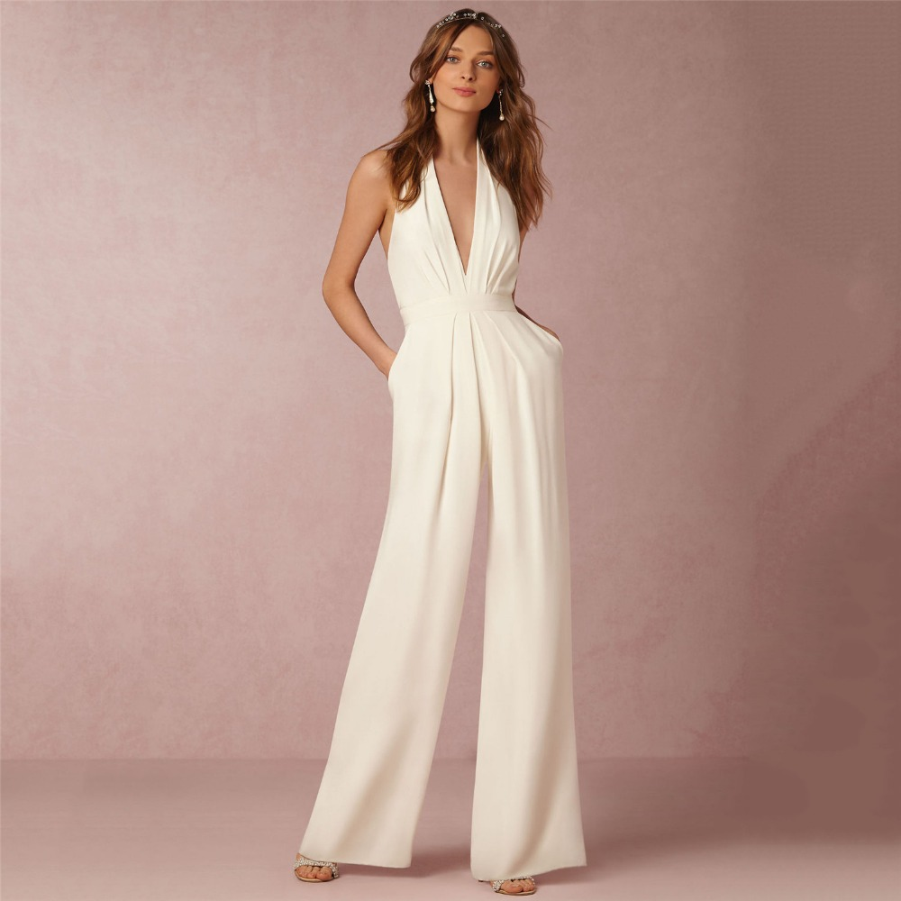 Jumpsuit   Women White Sexy Loose Slim Long   Jumpsuits   2019 New Spring Summer Red Green Wide Leg Pants   Jumpsuits   Clothing 2XL CX736