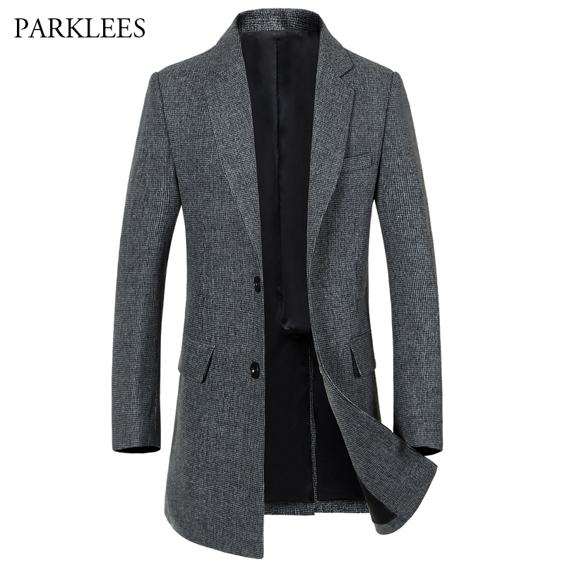 Small Plaid Long Trench Coat Men 2017 Brand New Winter Windbreak Mens Overcoat Single Breasted Retro Gird Pea Coat Men