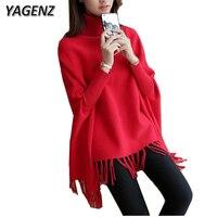 YAGENZ 2017 Autumn Winter Korean Women Sweater Turtleneck Loose Knitting Solid Bat Sleeves Female Sweater Pullover