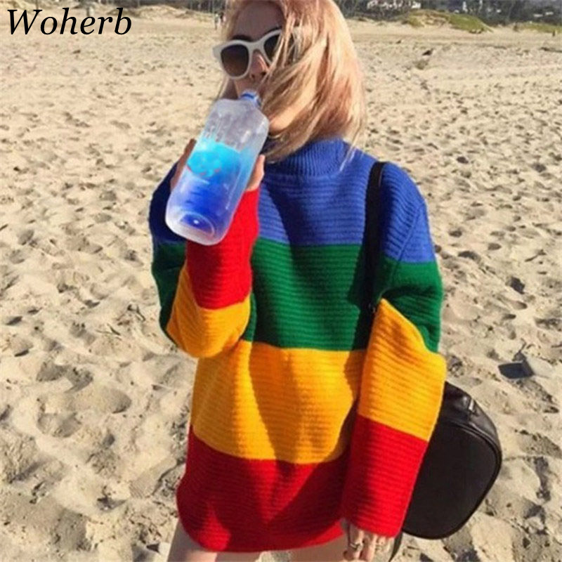 Woherb Harajuku Streetwear 2020 Autumn Rainbow Sweater Women Loose Knitting Pullovers Ladies Vintage Jumper Sueter Mujer 20274